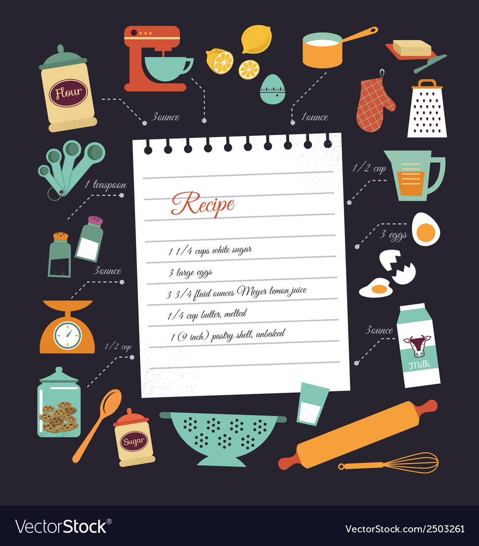 Chalkboard meal recipe template design vector | Price: 1 Credit (USD $1)