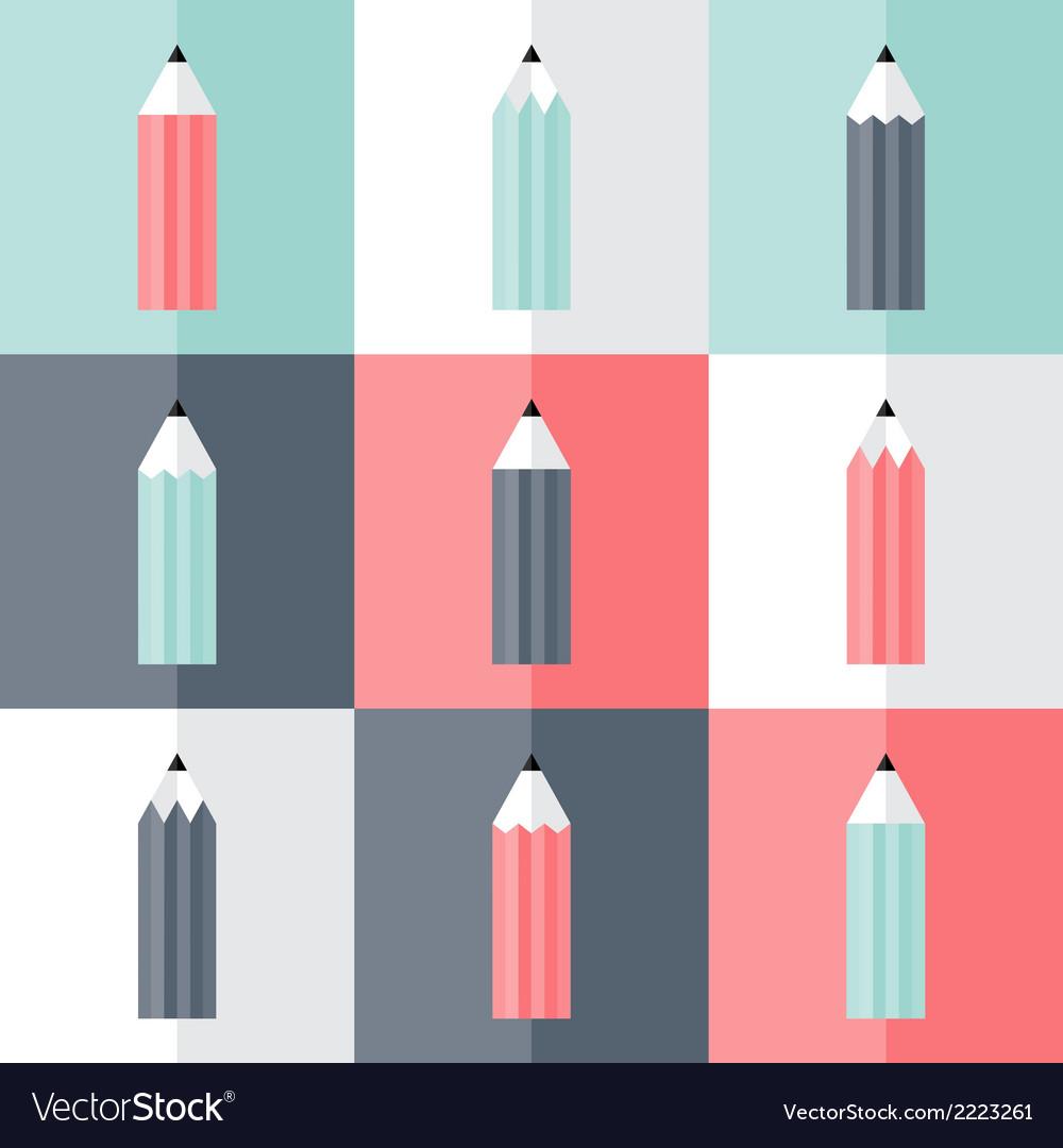 Flat pencil icons set vector | Price: 1 Credit (USD $1)