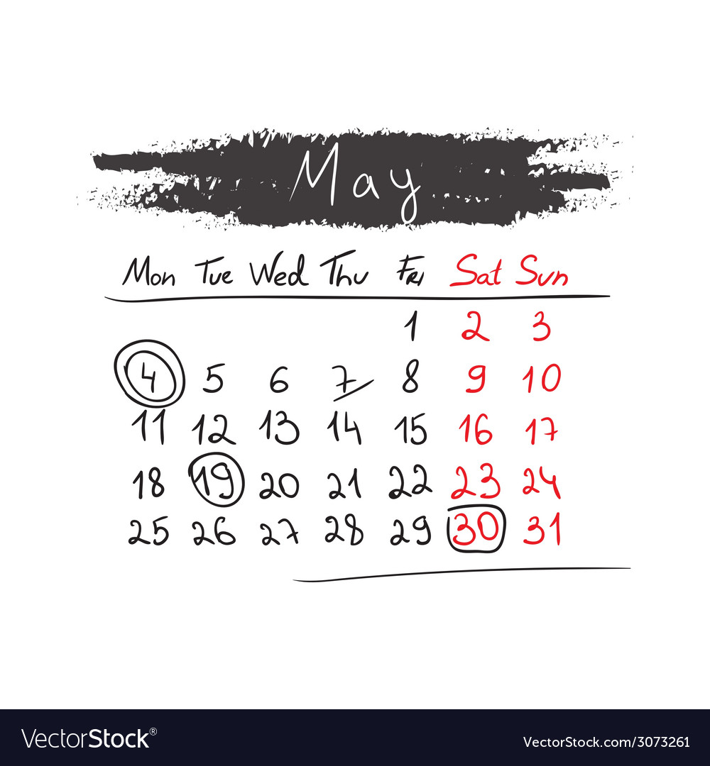 Handdrawn calendar may 2015 vector | Price: 1 Credit (USD $1)