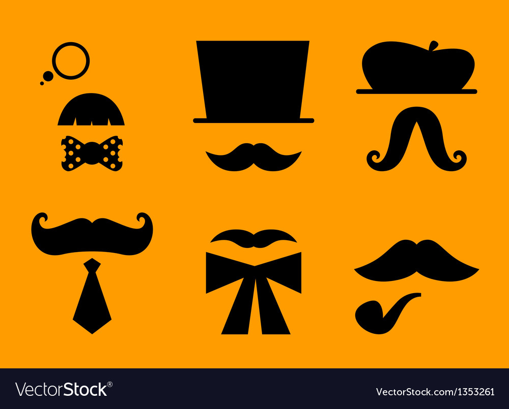 Mustaches and hats retro accessories vector | Price: 1 Credit (USD $1)