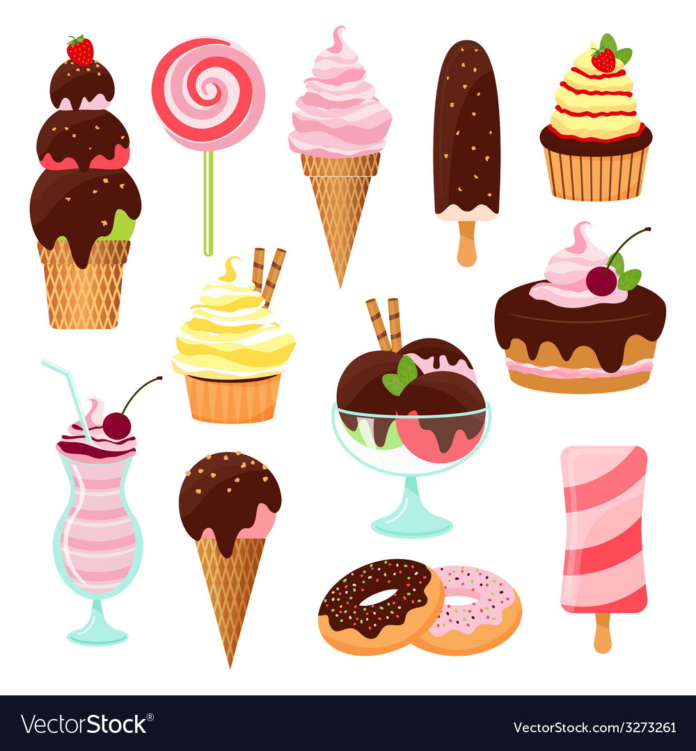 Pastries cakes and ice cream icon set vector | Price: 1 Credit (USD $1)