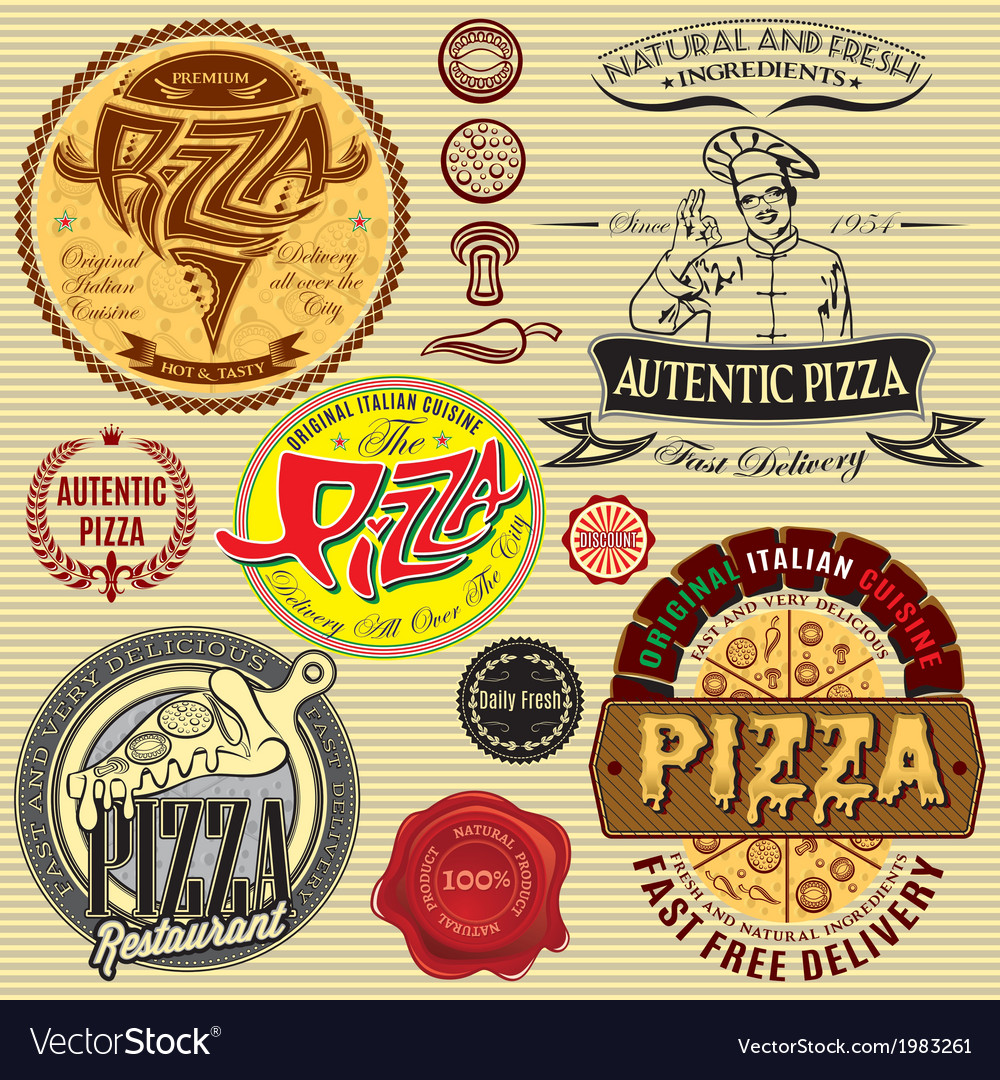 Set of icons on a theme a pizza delivery restauran vector | Price: 1 Credit (USD $1)