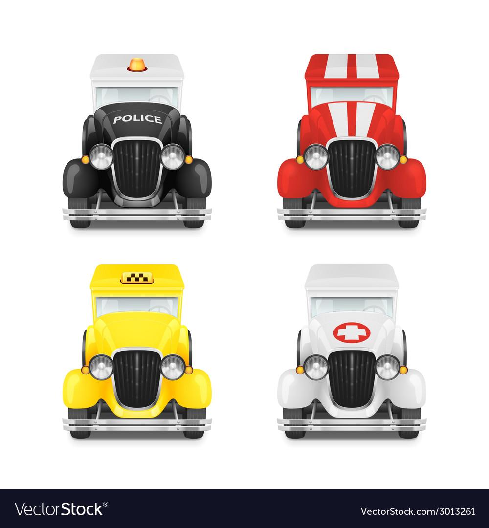 Set retro car icon vector | Price: 1 Credit (USD $1)