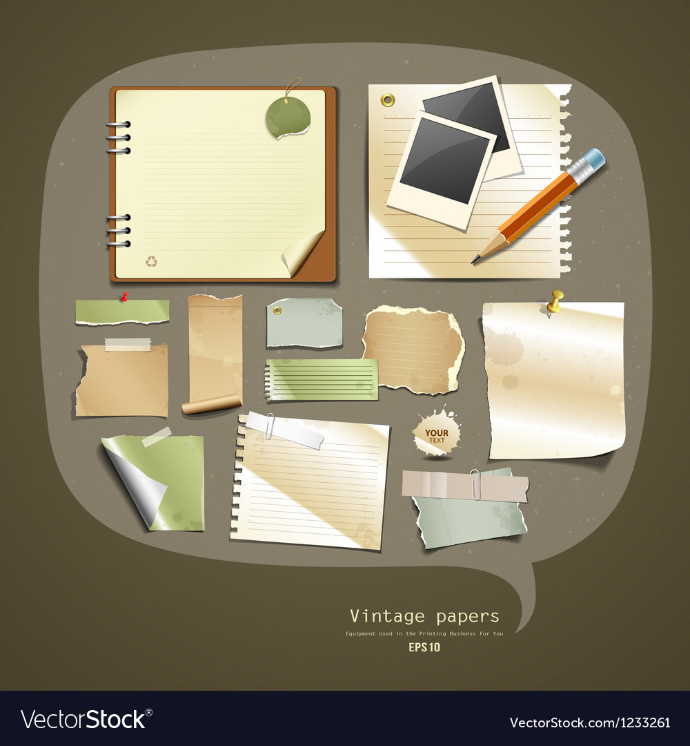Vintage paper collections design vector | Price: 1 Credit (USD $1)
