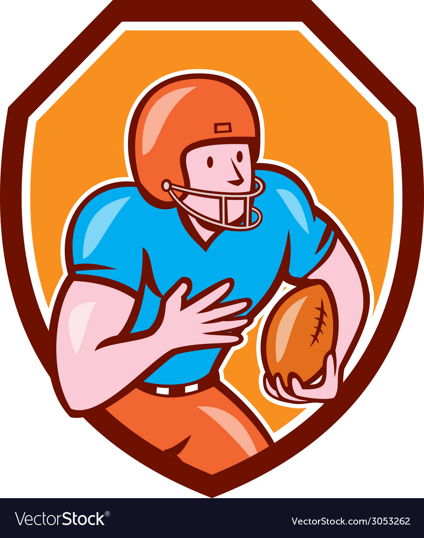 American football receiver running ball shield vector | Price: 1 Credit (USD $1)