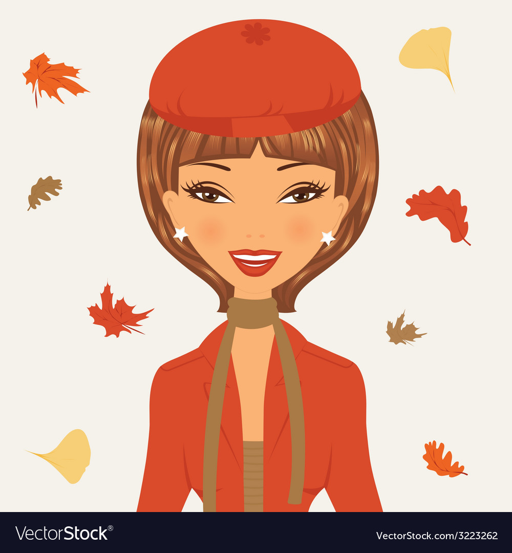 Beautiful young woman in autumn vector | Price: 1 Credit (USD $1)