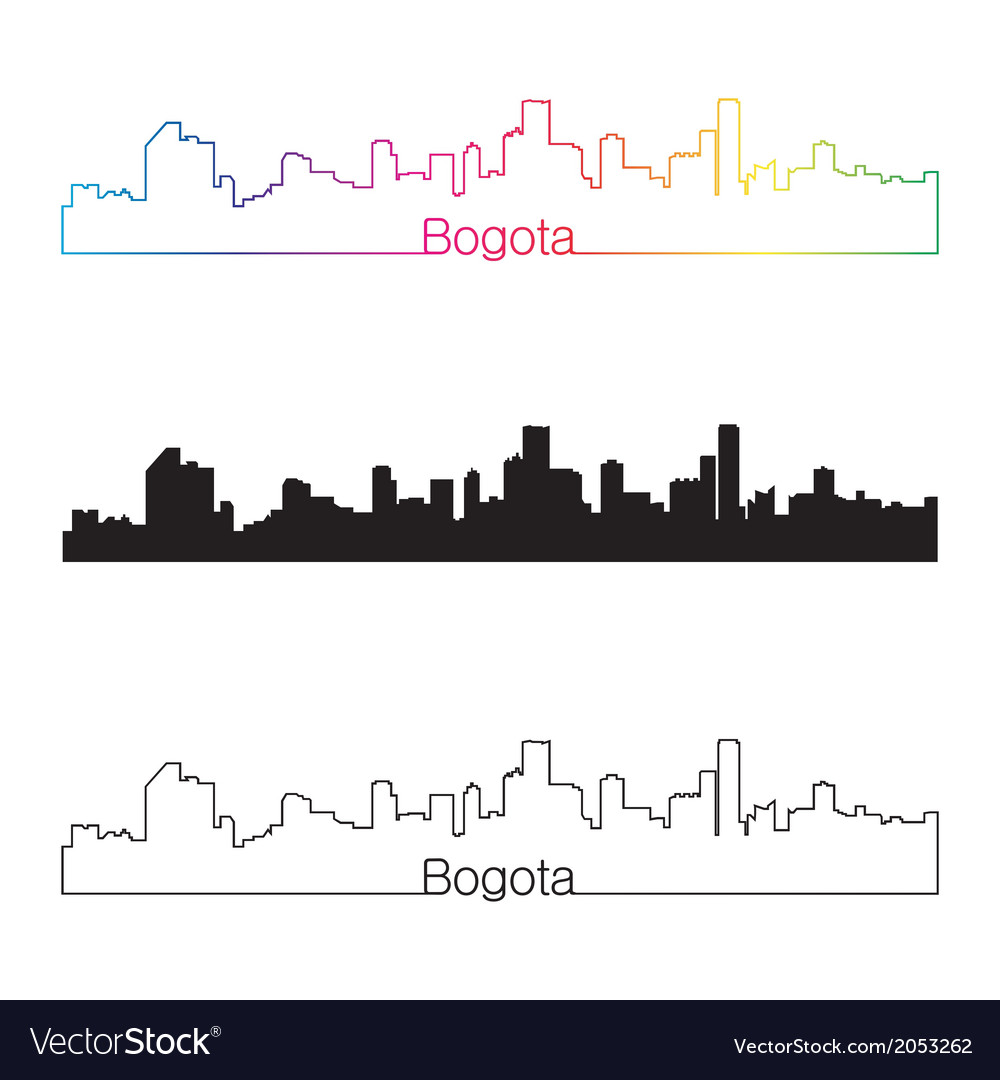 Bogota skyline linear style with rainbow vector | Price: 1 Credit (USD $1)