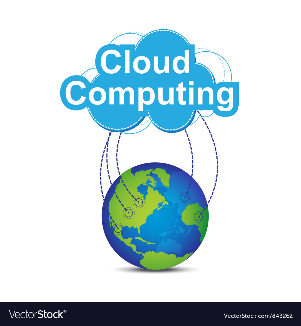 Cloud computing around the world vector | Price: 1 Credit (USD $1)