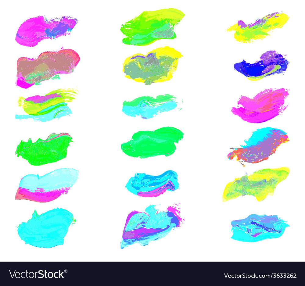Eighteen colorful watercolor smear paint vector | Price: 1 Credit (USD $1)