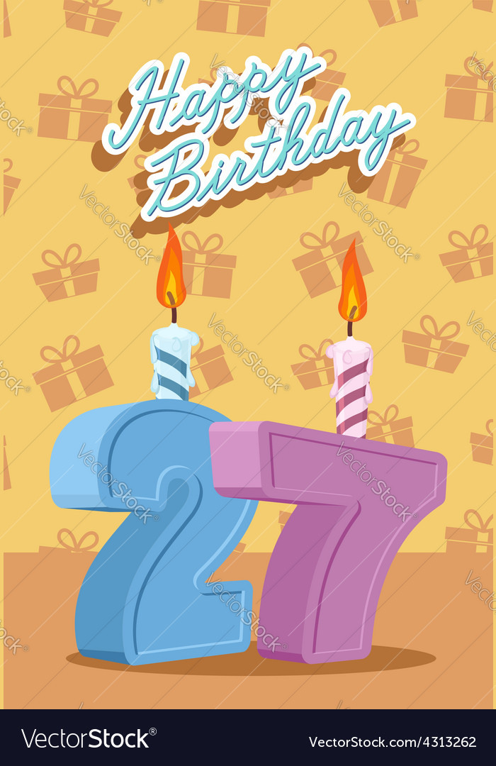 Happy birthday age 27 announcement and celebration vector | Price: 1 Credit (USD $1)