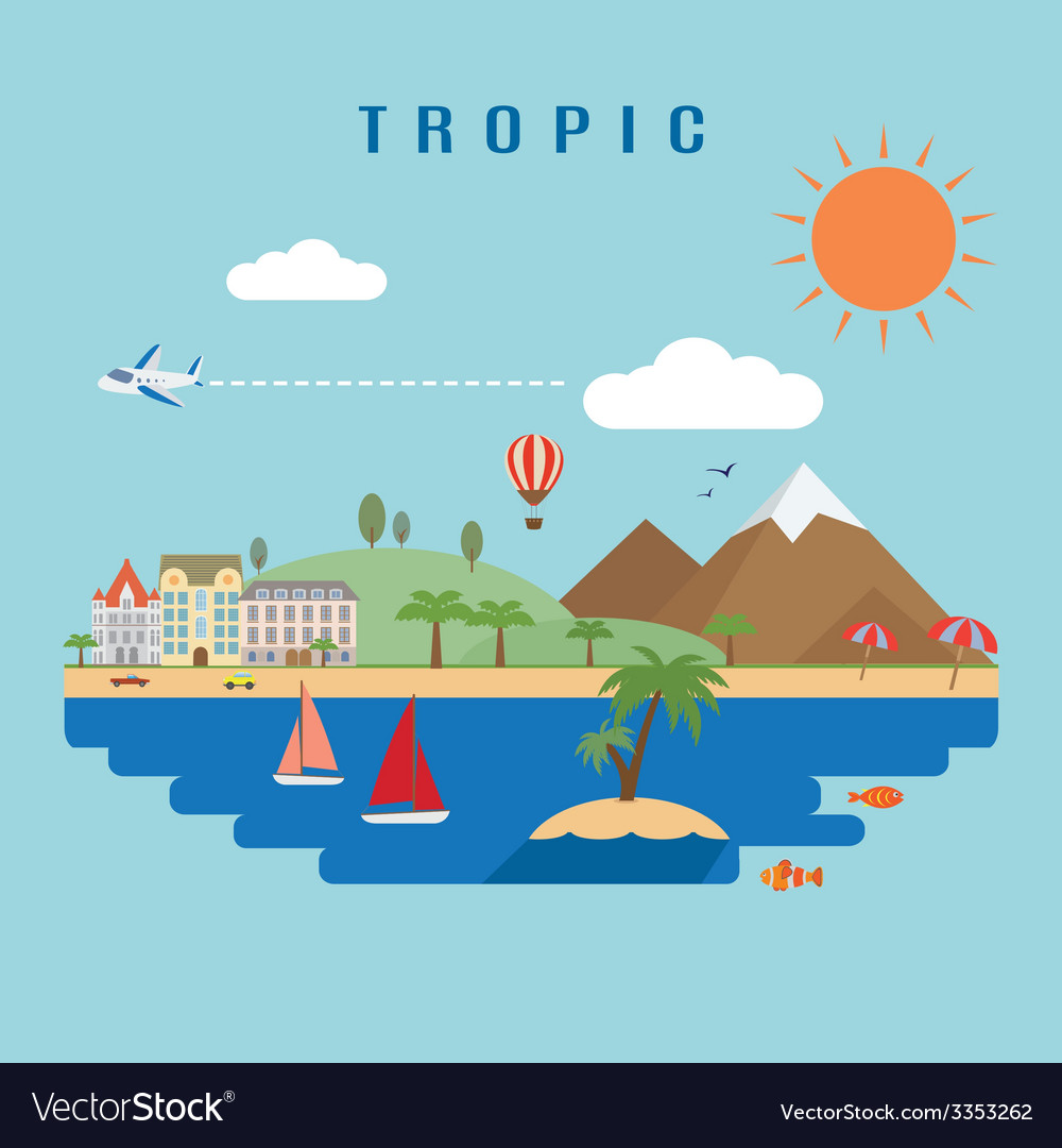 Landscape tropic vector | Price: 1 Credit (USD $1)