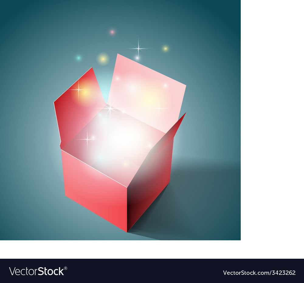 Open gift box with light vector | Price: 1 Credit (USD $1)