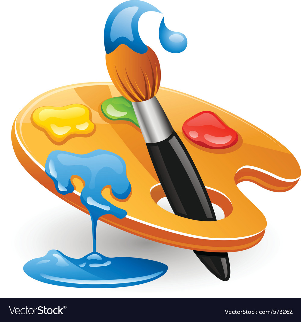 Palette and paintbrush vector | Price: 3 Credit (USD $3)