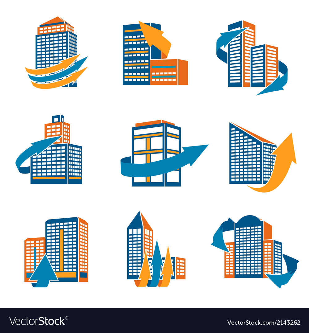 Urban buildings icons vector | Price: 1 Credit (USD $1)