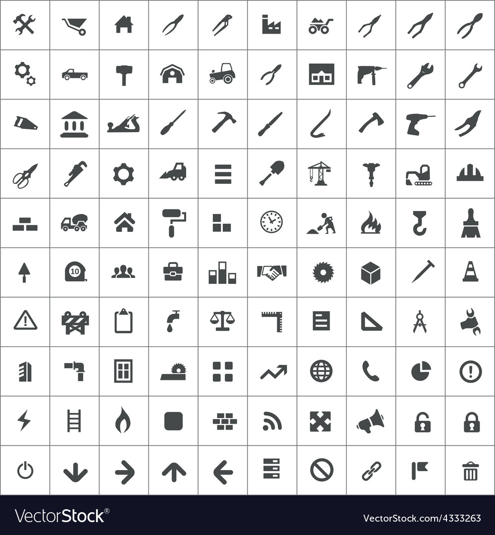 100 construction icons vector | Price: 1 Credit (USD $1)