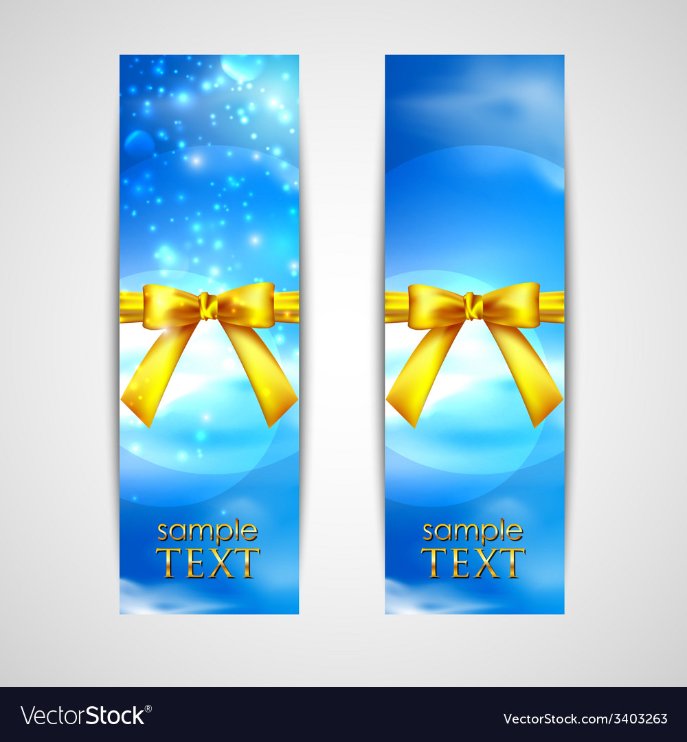 Banners with yellow bows on the sky background vector | Price: 1 Credit (USD $1)