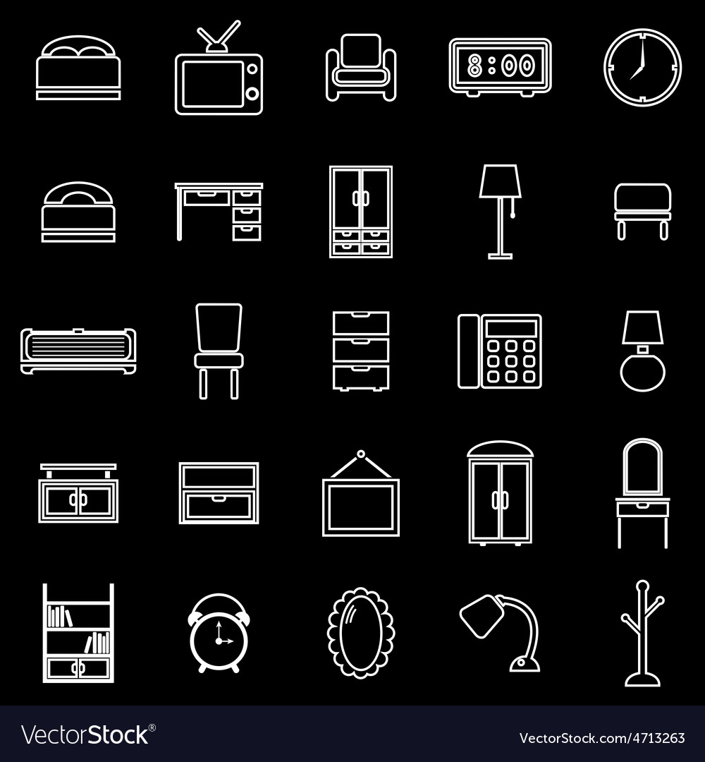 Bedroom line icons on black background vector | Price: 1 Credit (USD $1)