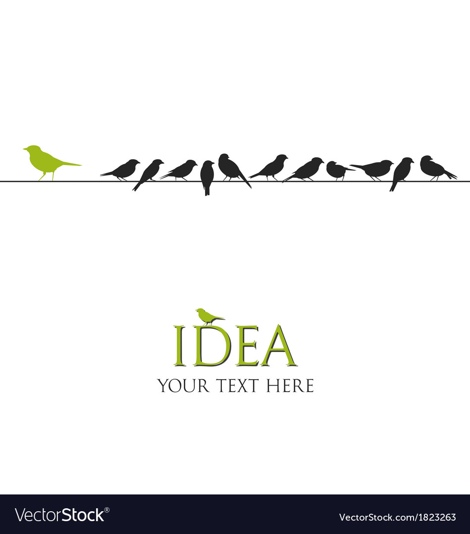Birds on wire - idea concept vector | Price: 1 Credit (USD $1)