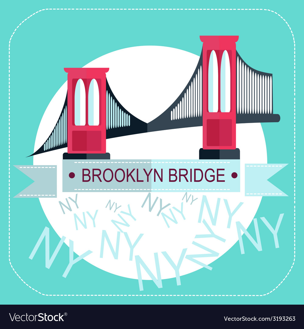 Brooklyn bridge new york icon flat vector | Price: 1 Credit (USD $1)