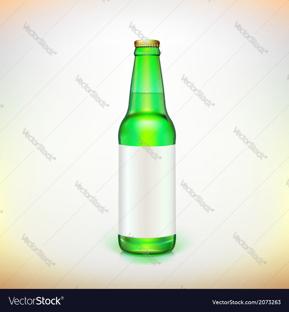 Glass beer green bottle and label product packing vector | Price: 1 Credit (USD $1)