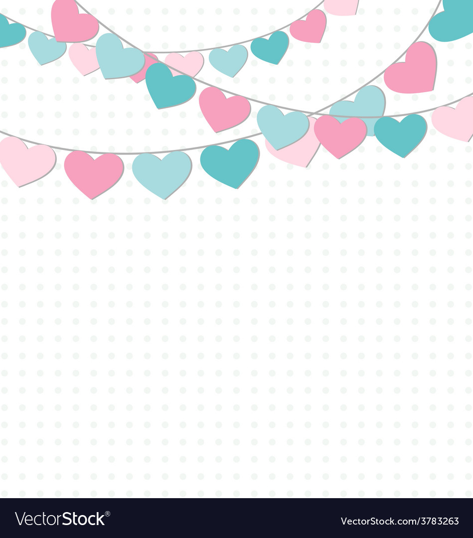 Hearts buntings garlands on white vector | Price: 1 Credit (USD $1)