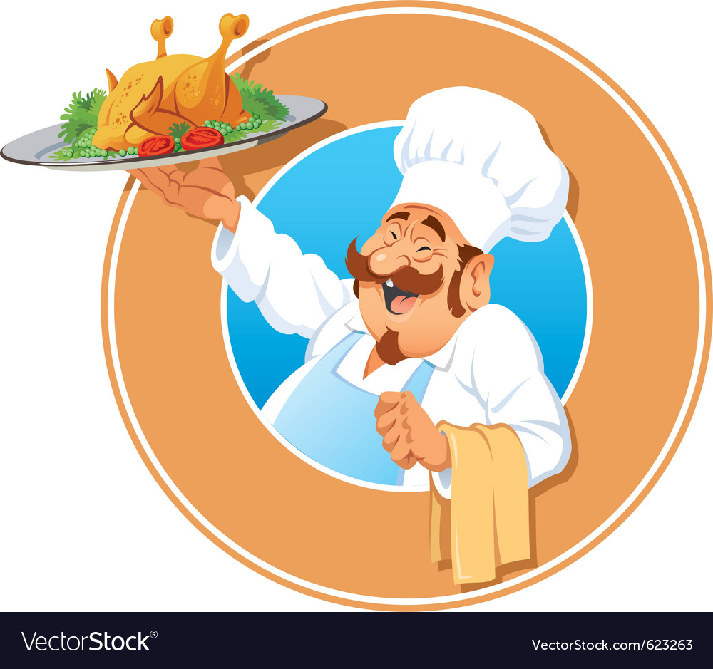 Jolly cook with a roasted chicken vector | Price: 3 Credit (USD $3)