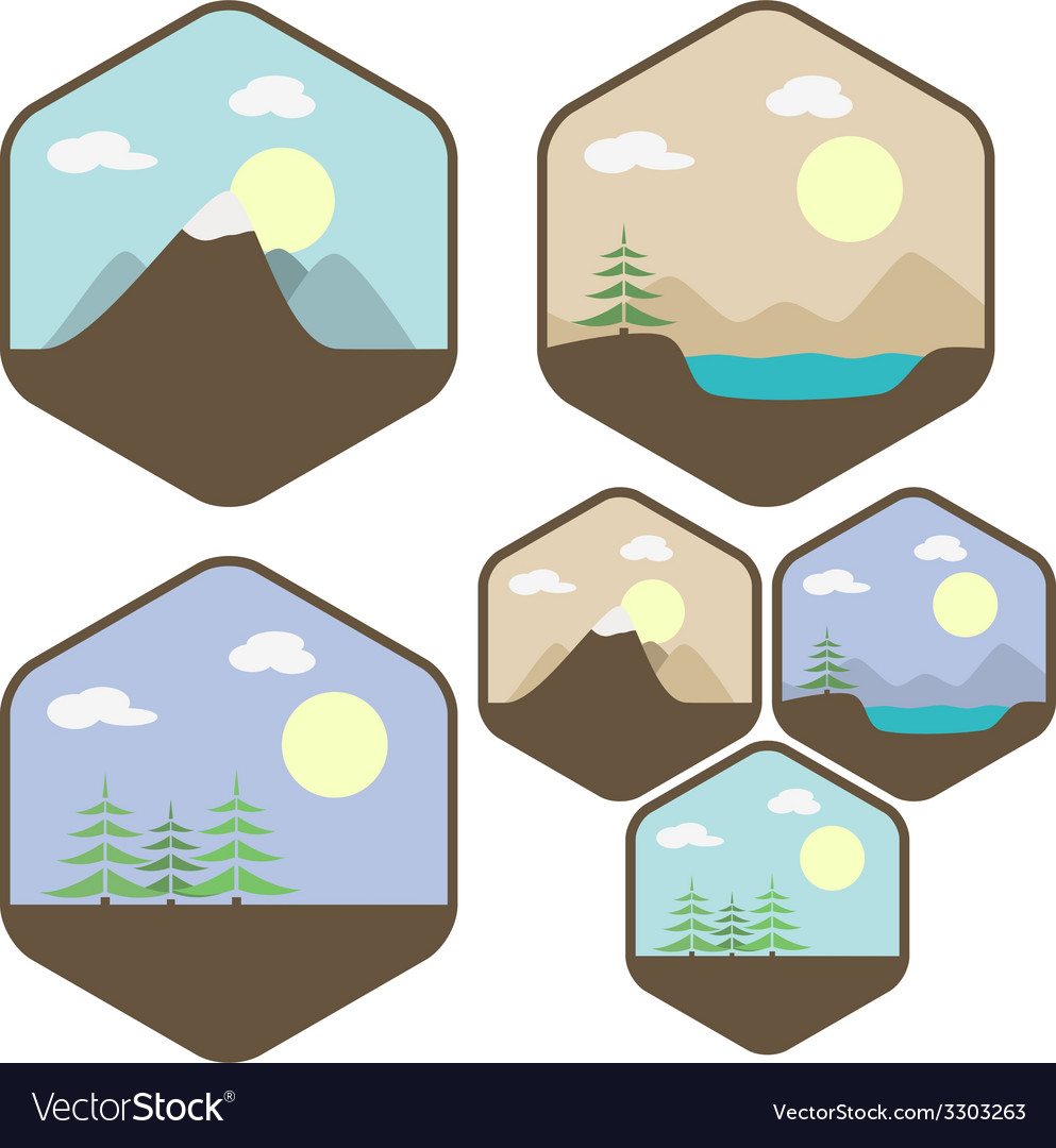 Landscape icon set vector | Price: 1 Credit (USD $1)