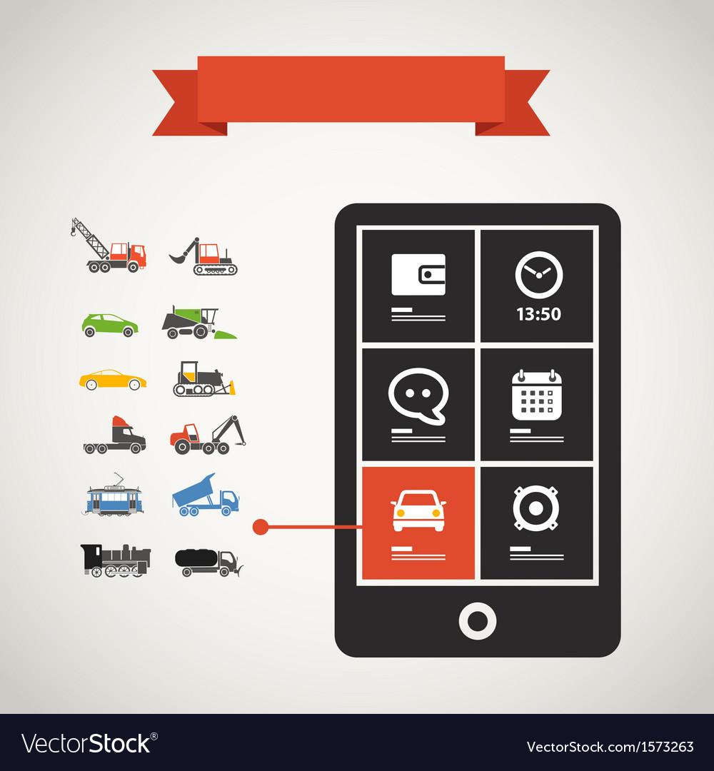 Modern mobile phone with transport silhouettes vector | Price: 1 Credit (USD $1)