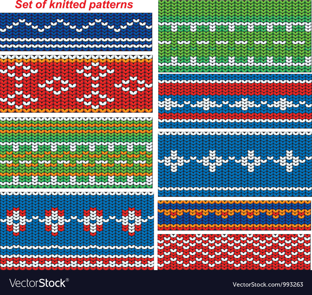 Set of 9 knitted ornamental seamless patterns vector | Price: 1 Credit (USD $1)