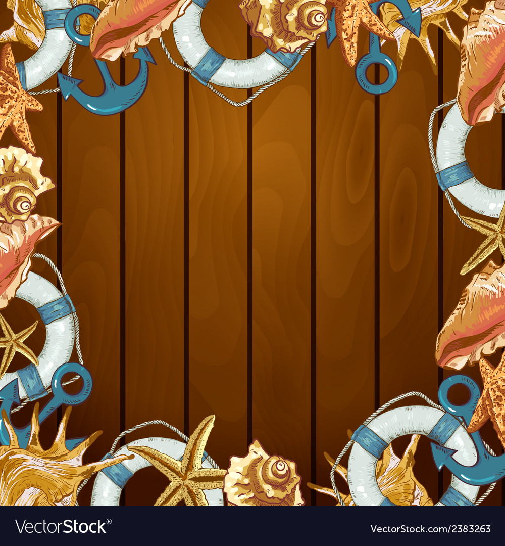 Summer card with sea shells anchor lifeline vector   Price: 1 Credit (USD $1)