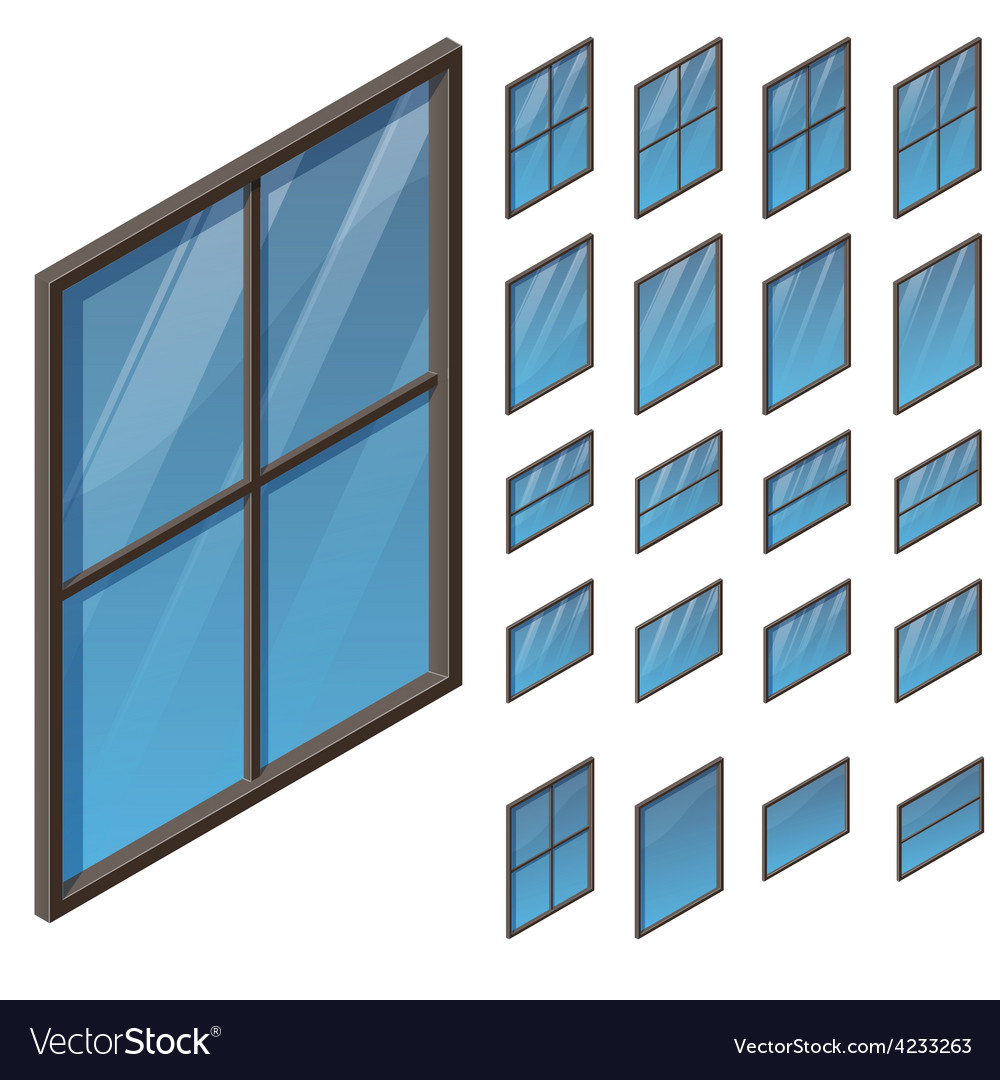 Windows in isometric view vector | Price: 1 Credit (USD $1)