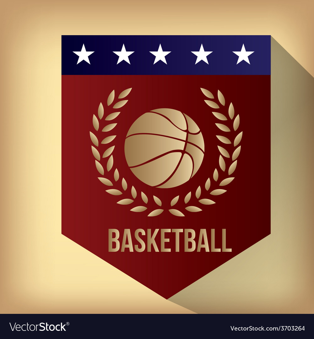 A red label with a basketball ball text and a laur vector | Price: 1 Credit (USD $1)