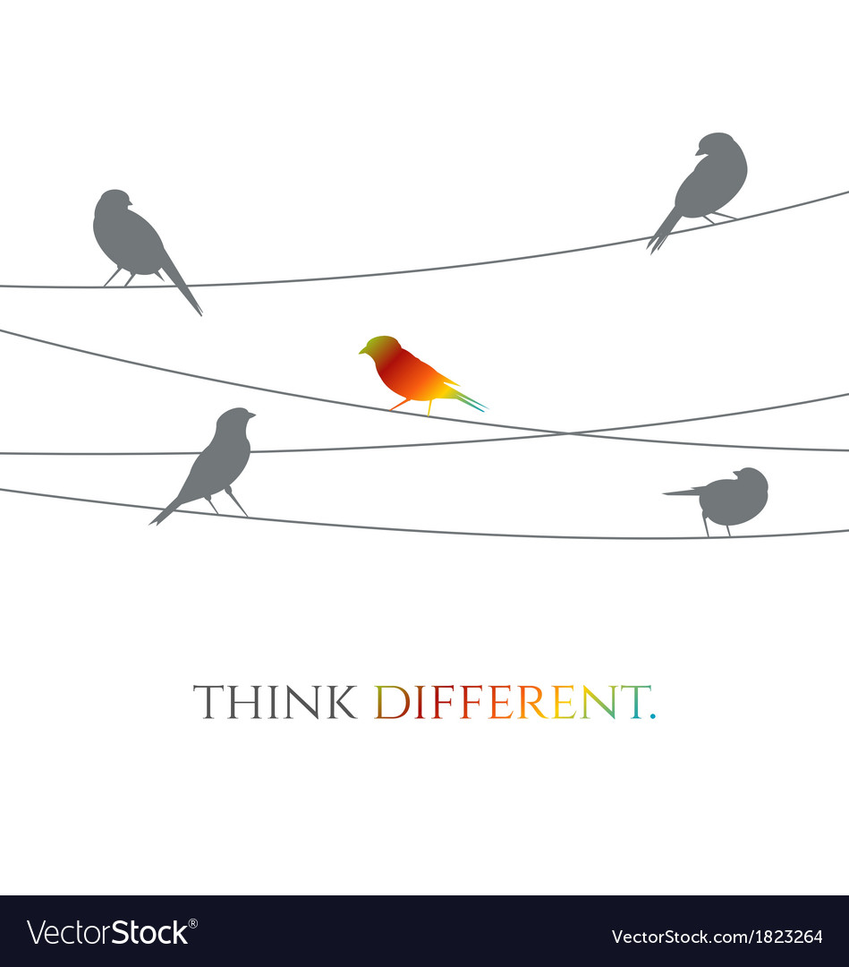 Birds on wire - think different concept vector | Price: 1 Credit (USD $1)