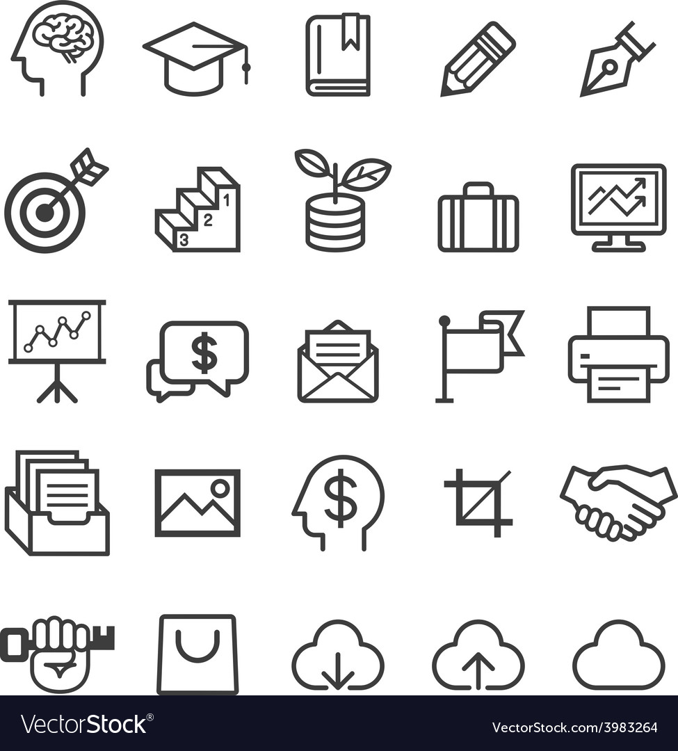 Business education line icons vector | Price: 1 Credit (USD $1)