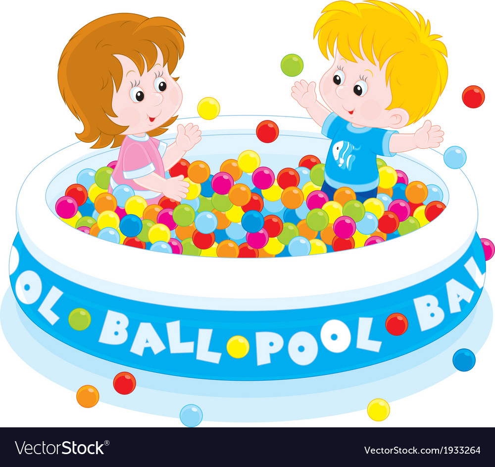 Children play in a ball pool vector | Price: 1 Credit (USD $1)