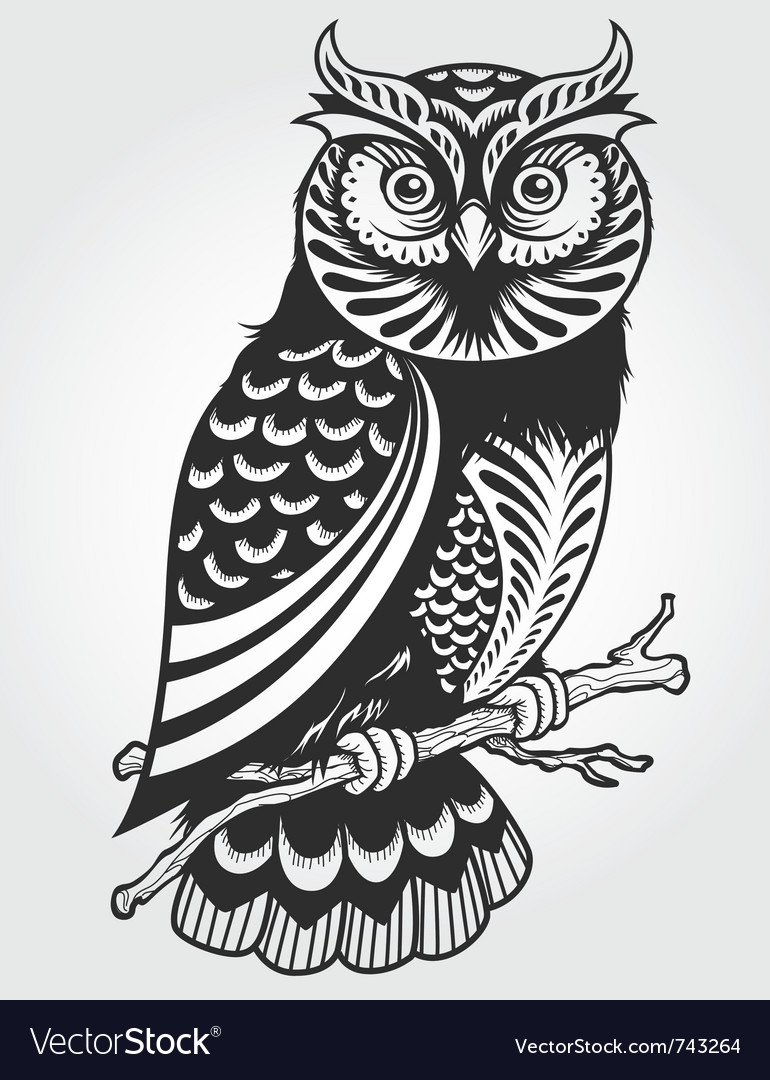 Decorative owl vector | Price: 1 Credit (USD $1)