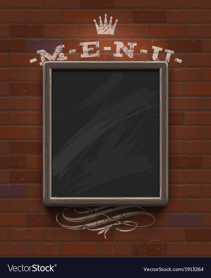 Menu chalkboard with wooden frame on brick wall vector | Price: 1 Credit (USD $1)