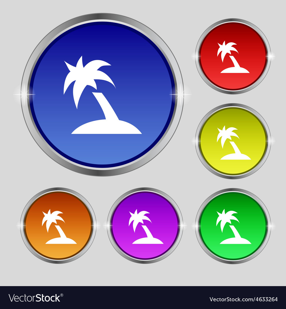 Palm tree travel trip icon sign round symbol on vector | Price: 1 Credit (USD $1)