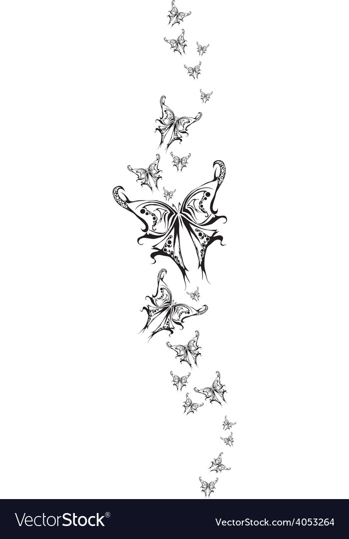 Set monochrome tattoo butterflys vector | Price: 1 Credit (USD $1)