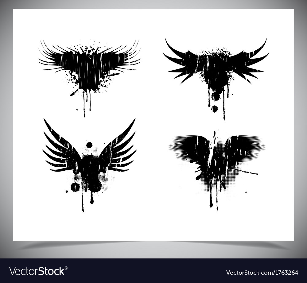Set of black grunge wings vector | Price: 1 Credit (USD $1)