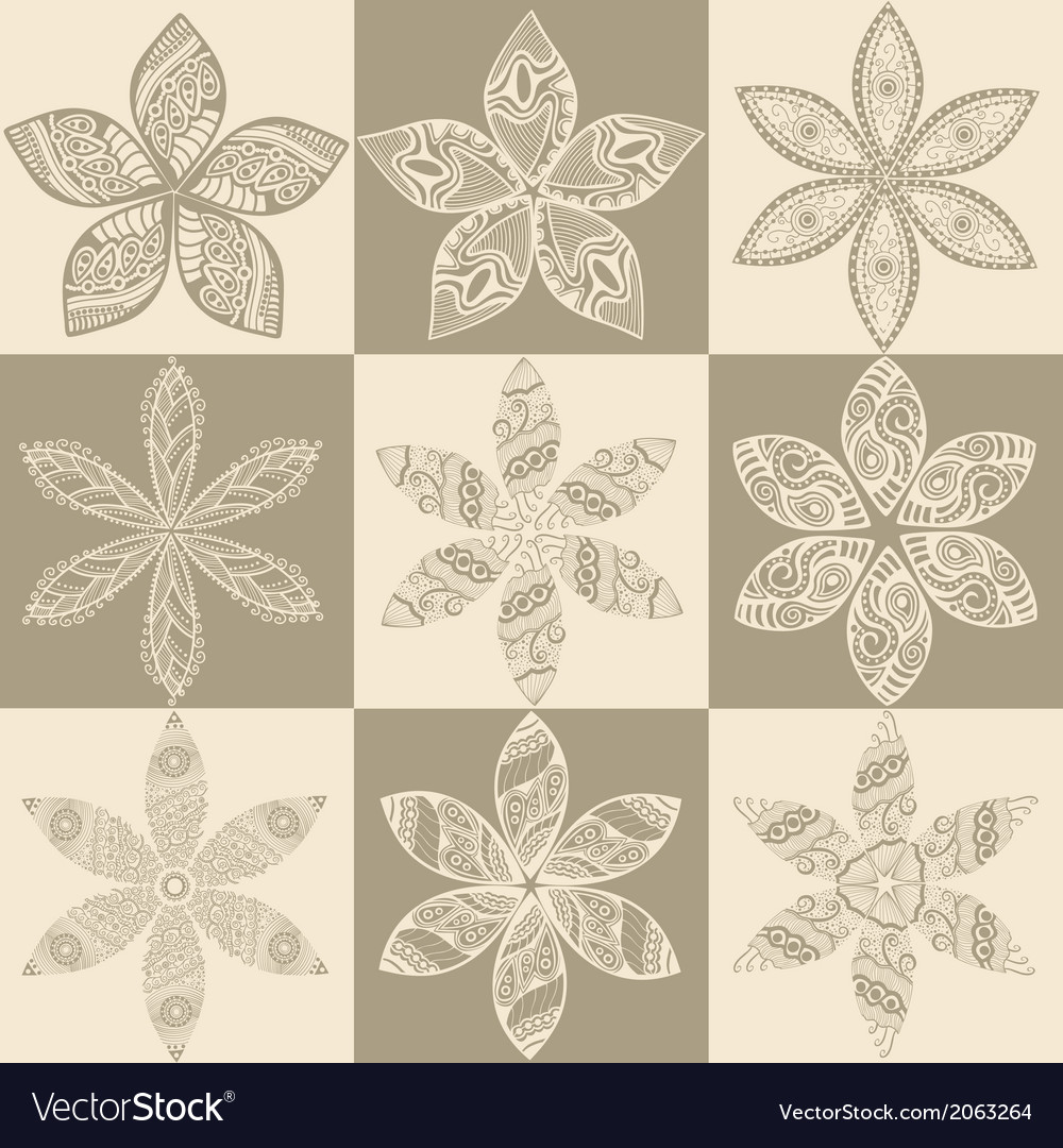 Set of four colorful floral patternscopy square to vector | Price: 1 Credit (USD $1)