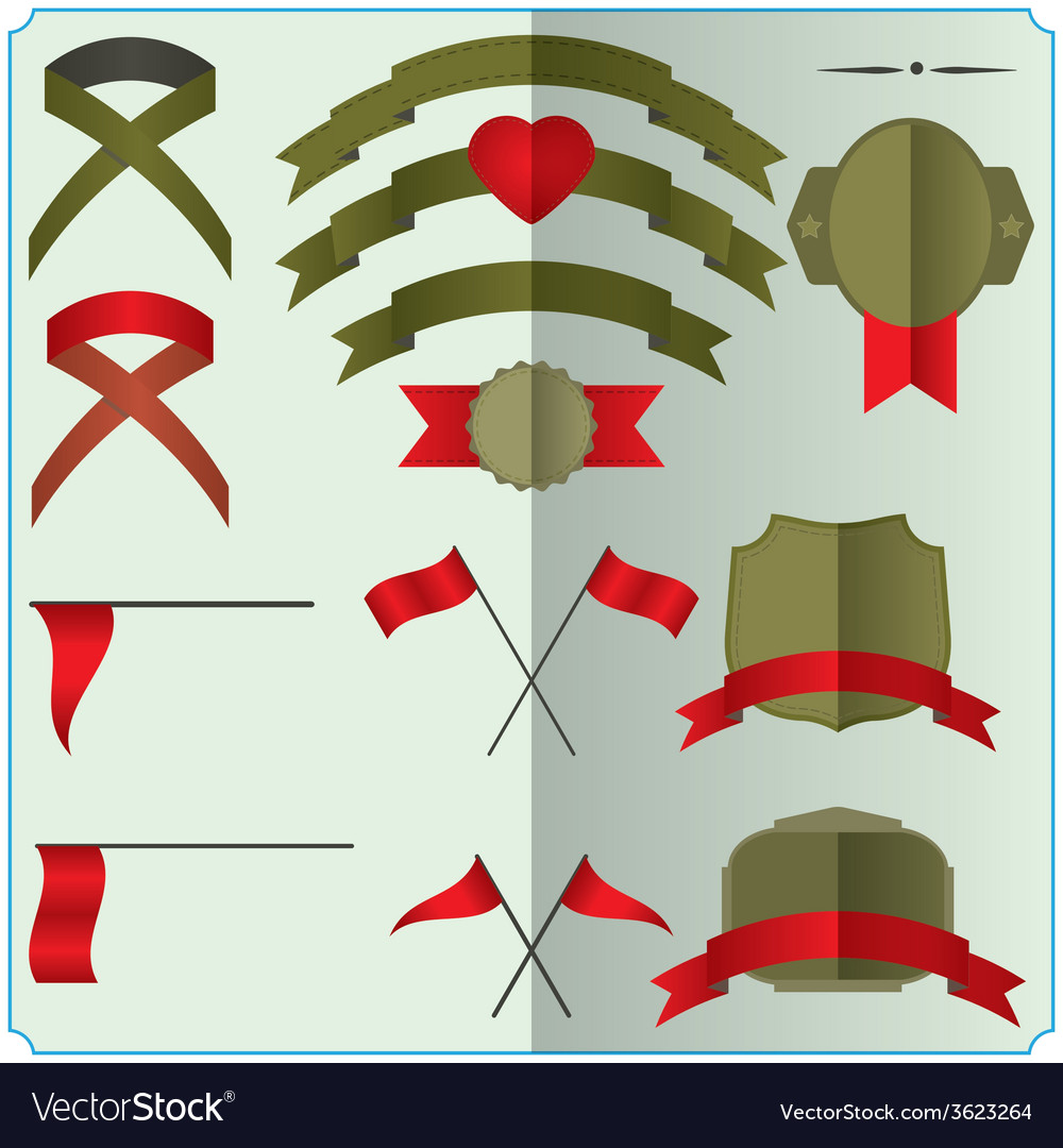 Set of ribbons and badges vector   Price: 1 Credit (USD $1)