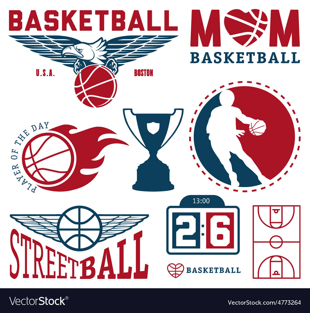 Set of vintage basketball badges and labels vector | Price: 1 Credit (USD $1)