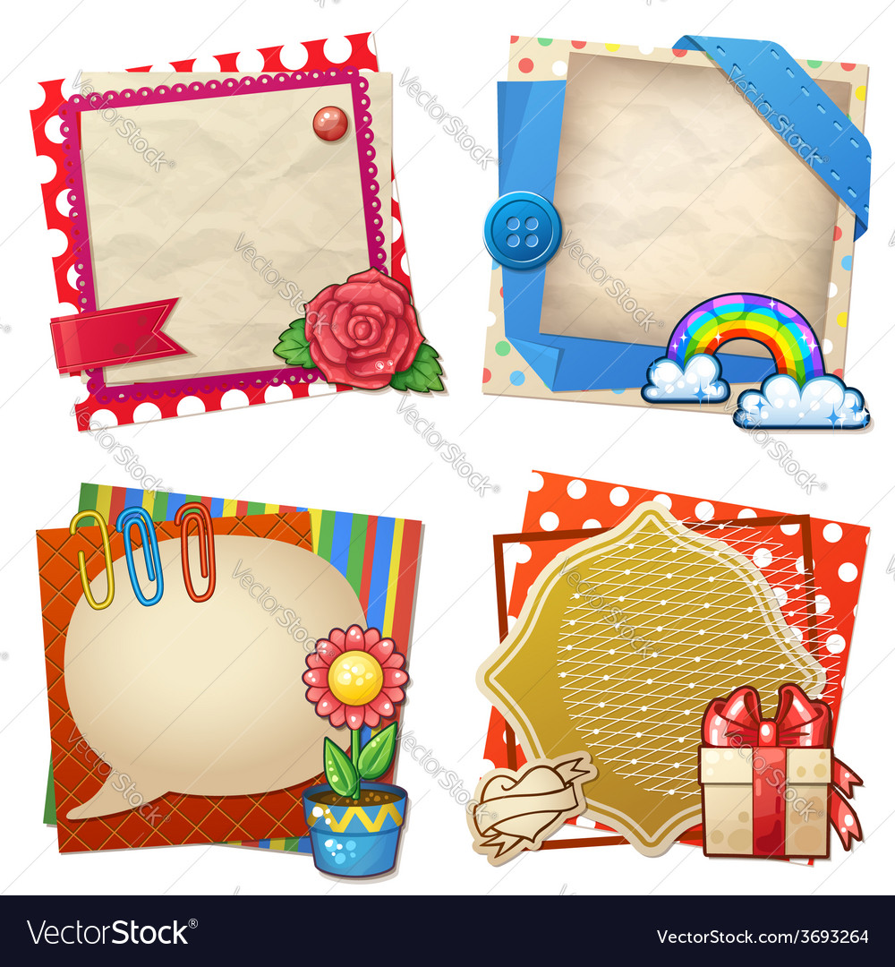 Sets of paper and other items for scrapbooking vector | Price: 3 Credit (USD $3)