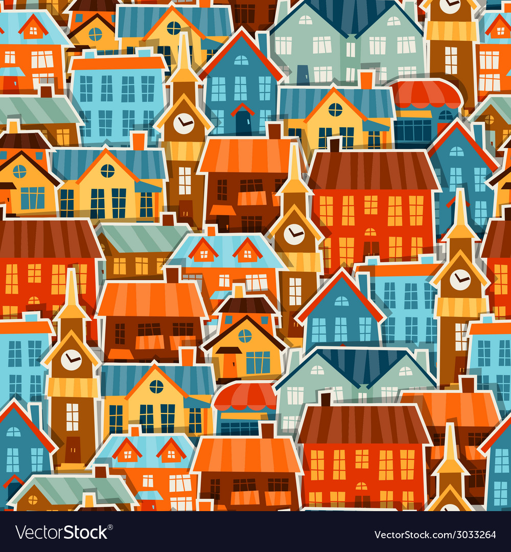 Town seamless pattern with cute colorful sticker vector | Price: 1 Credit (USD $1)
