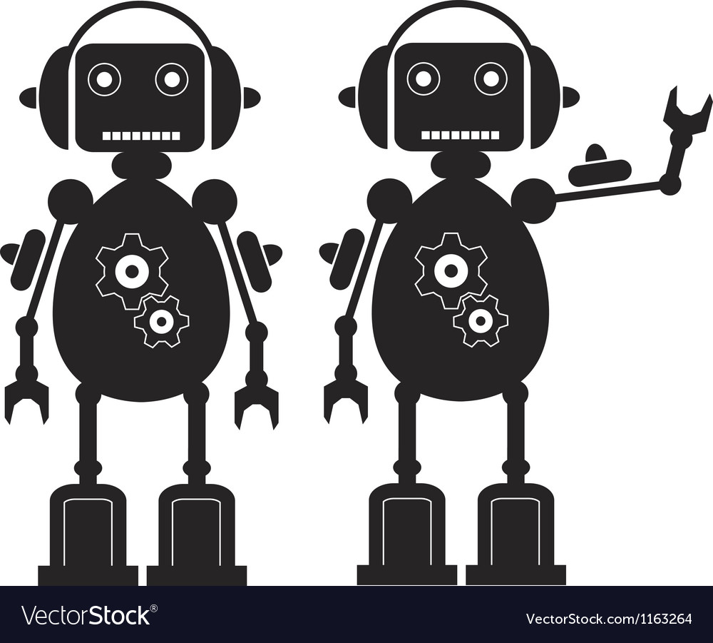 Two black friendly robots with gears headphones vector | Price: 1 Credit (USD $1)