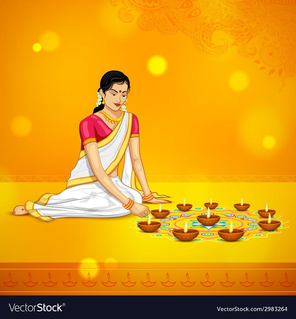 Woman burning diya for indian festival diwali vector | Price: 1 Credit (USD $1)