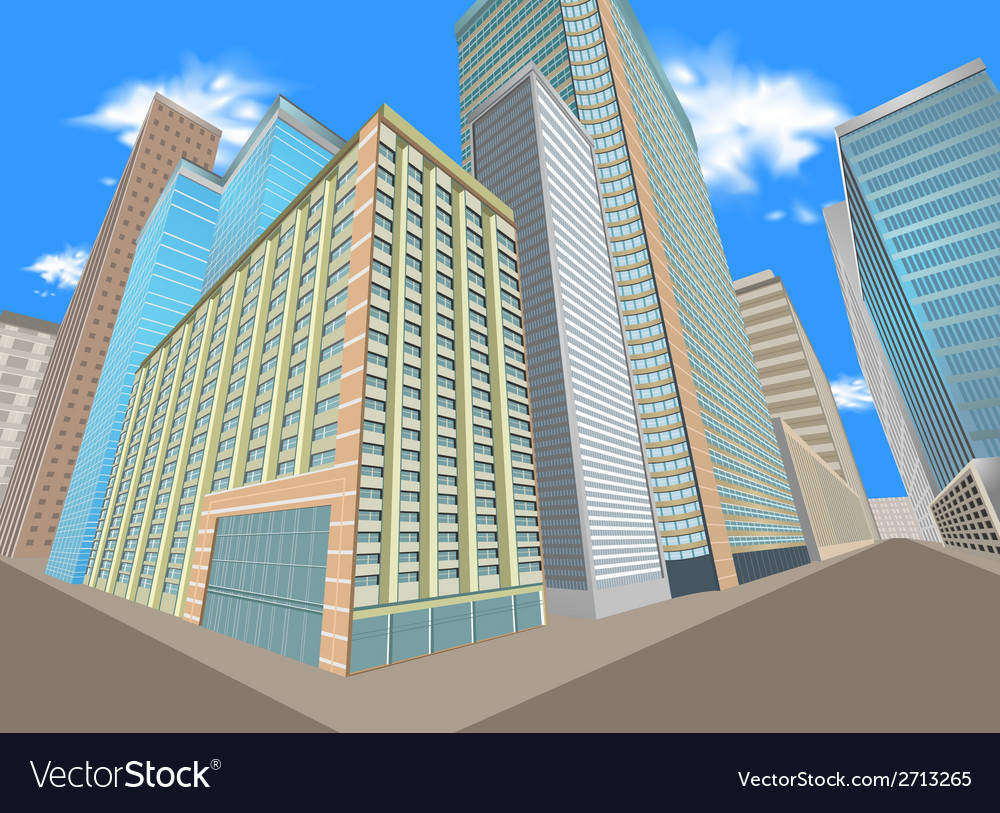 Building in the city vector | Price: 1 Credit (USD $1)
