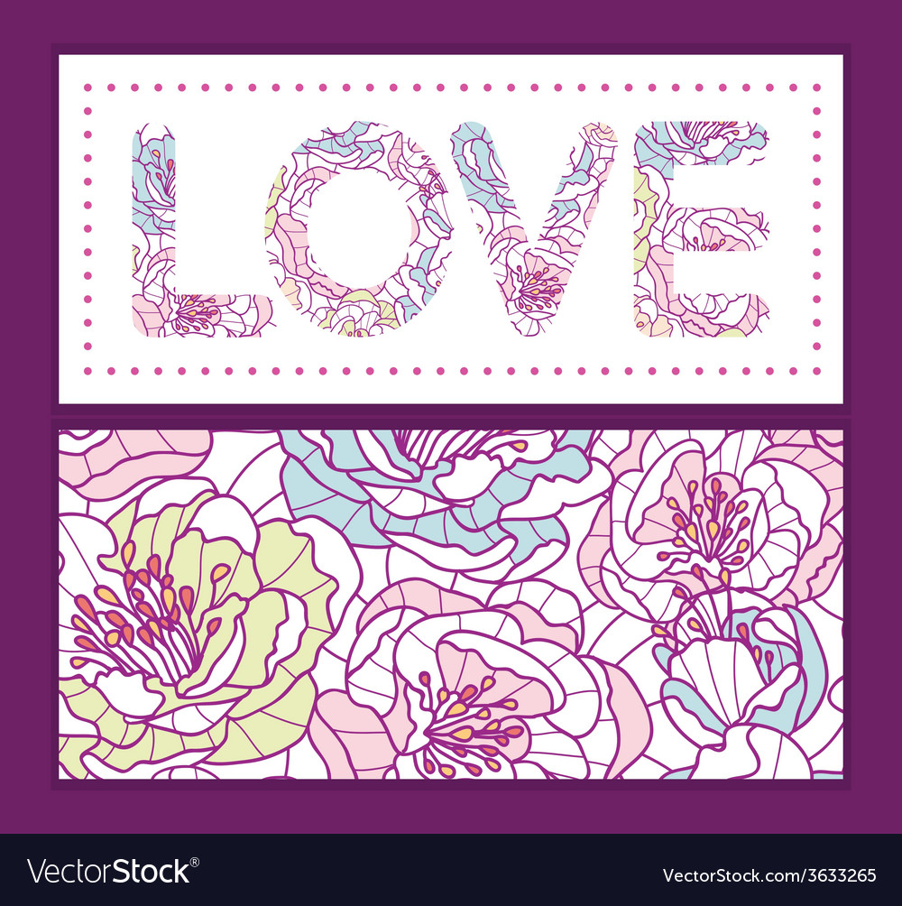 Colorful line art flowers love text frame pattern vector | Price: 1 Credit (USD $1)