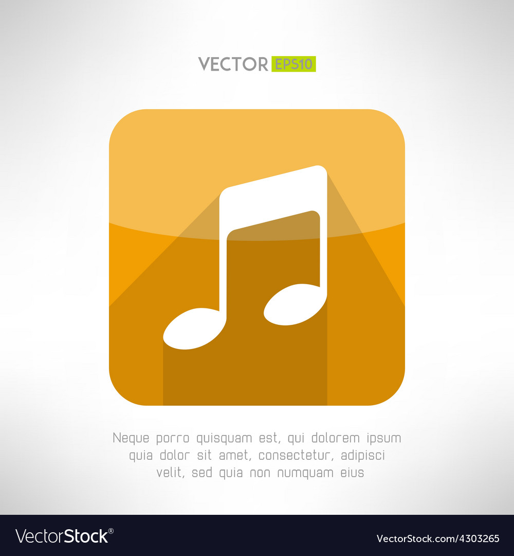 Music note icon in modern flat design radio vector | Price: 1 Credit (USD $1)